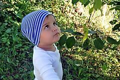 Detské čiapky - Detská celoročná merino čiapka modrý šmolko - 9800023_
