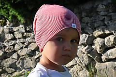 Detské čiapky - Dvojvrstvová detská merino čiapka červený šmolko (obvod 42cm) - 9800109_