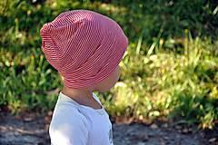 Detské čiapky - Dvojvrstvová detská merino čiapka červený šmolko (obvod 42cm) - 9800110_
