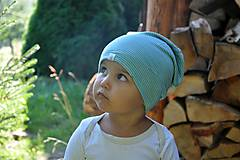 Detské čiapky - Dvojvrstvová detská merino čiapka tyrkysový šmolko - 9800127_