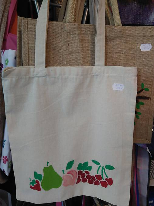 e26e289fe Plátená nákupná taška s ovocím / rifloviny - SAShE.sk - Handmade ...