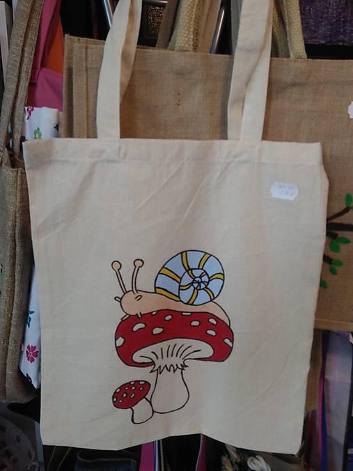 cc0041d49 Plátená nákupná taška s handmade aplikáciou slimáčik / rifloviny ...