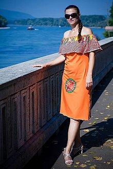 Tehotenské oblečenie - Oranžové šaty na dojčenie z dizajnérskej látky - 9800024_
