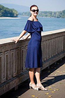 Tehotenské oblečenie - Tmavomodré šaty na dojčenie s volánom - 9800102_