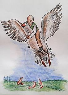 Kresby - dedko letí na husi... :-) - 9799266_