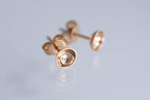 Náušnice - Náušnice polguličky - zlaté (ružové zlato) - 9801328_