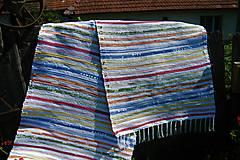 Úžitkový textil - Tkaný koberec pestrý s bielymi pásikmi - 9799430_