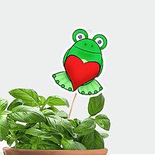 Dekorácie - Žabie zápichy do kvetináča (žabiak zamilovaný) - 9800494_