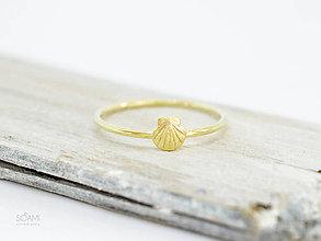 Prstene - 14k / 585 zlatý prsteň mušľa - 9802096_