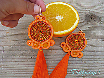 Náušnice - Tassels collection...soutache (Orange) - 9802518_
