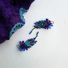 Náušnice - fialovo tyrkysové trsy - 9802386_