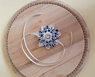 Pierka - folklórny náramok pre najmenšie družičky bielo-modrý - 9801417_