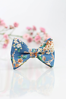 Doplnky - Pánsky modrý kvetinový motýlik