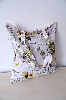 Nákupné tašky - Nákupná plátená taška levanduľa,olivy,slnečnice - 9801469_