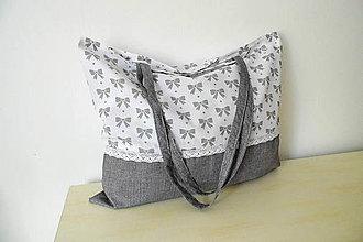 Nákupné tašky - Nákupná plátená taška mašličky s krajkou - 9801477_