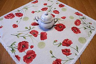 Úžitkový textil - Obrus divé maky s krajkou - čipkou - 9802424_