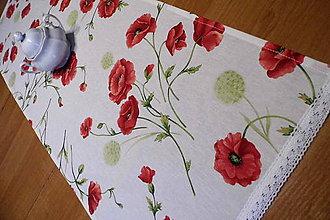 Úžitkový textil - štóla divé maky s krajkou - čipkou - 9802470_