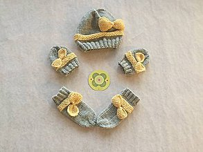 Detské súpravy - Dievčenská čiapka, rukavičky a ponožky - 9802734_