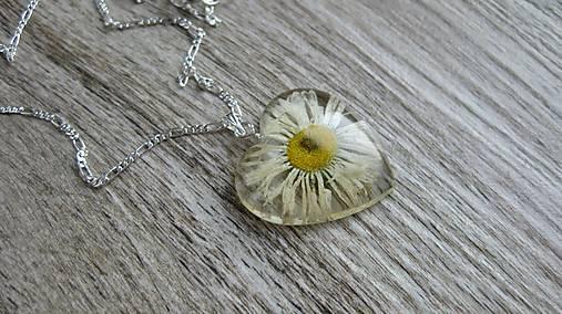 Srdiečko s kvietkami - živicový náhrdelník (sedmokráska väčšie srdiečko č.  2266) d095e59ef86