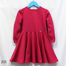 Detské oblečenie - Šaty s kruhovou sukňou a bočnými vreckami tmavý cyklámen - 9802682_