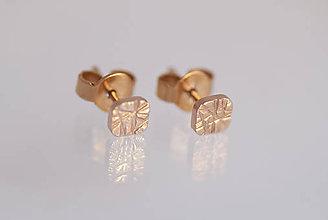 Náušnice - Náušnice ryhované štvorčeky (ružové zlato) - 9802952_