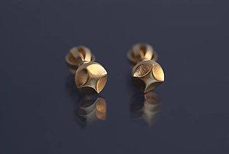 Náušnice - Náušnice hviezdičky štvorcípe (žlté zlato) - 9802976_