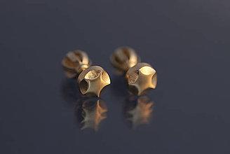 Náušnice - Náušnice hviezdičky päťcípe (žlté zlato) - 9803000_