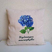 Úžitkový textil - Ľanová obliečka na vankúš Hortenzia kalinolistá/Hydrangea macrophylla (modrá) - 9802066_