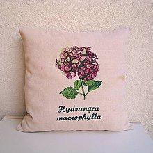 Úžitkový textil - Ľanová obliečka na vankúš Hortenzia kalinolistá/Hydrangea macrophylla (ružová) - 9802070_