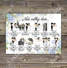 Grafika - Harmonogram svadobného dňa s hortenziami - 9805416_