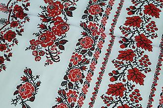 Textil - Látka Vyšívané bordúry ruží - 9803561_