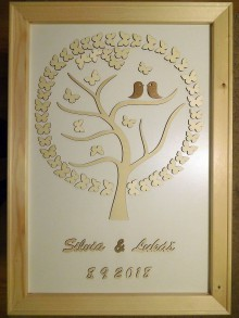 Dekorácie - svadobná kniha hostí/drevený strom 19 - 9805056_