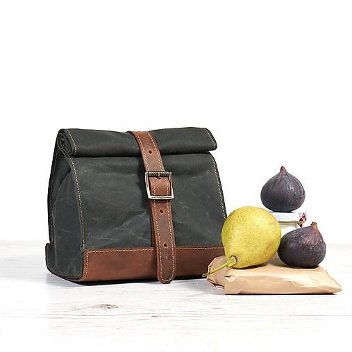 Zelený lunchbox. Taška na jedlo.