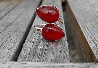 Prstene - Achát červený prsteň Ag 925 - 9805045_