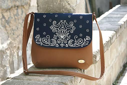 modrotlačová kabelka Ria XL hnedá AM 1