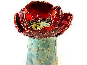 Socha - Makový svietnik (kvet priemer 12cm - Červená) - 9805444_