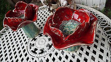 Socha - Makový svietnik (kvet priemer 19 cm - Červená) - 9805454_
