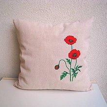 Úžitkový textil - Ľanová obliečka na vankúš (Mak vlčí/Papaver rhoeas 2) - 9803950_
