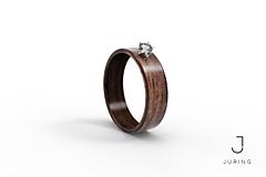 - Zásnubný Drevený prsteň - Orech & Zirkón  - 9804457_
