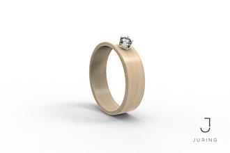 Prstene - Zásnubný Drevený prsteň - Javor & Zirkón - 9804452_