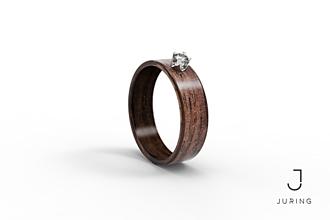 Prstene - Zásnubný drevený prsteň JURING - Orech & Zirkón  - 9804457_
