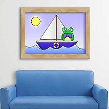 Detské doplnky - Žabiak na loďke - digitálna grafika - fešák - 9803329_