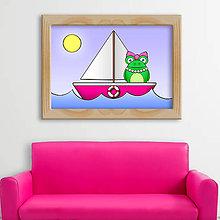 Detské doplnky - Žabka na loďke - digitálna grafika - parádnica - 9803335_