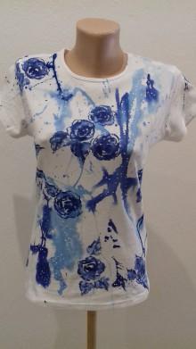 Tričká - modré ruže v pavučine - 9804596_
