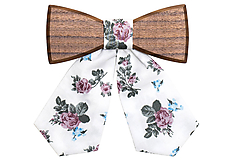 ORIGINÁL – Dámsky drevený motýlik Blue Rose