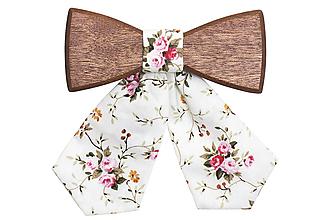 Náhrdelníky - ORIGINÁL – Dámsky drevený motýlik White Rose - 9806328_