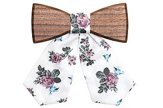 Náhrdelníky - ORIGINÁL – Dámsky drevený motýlik Blue Rose - 9806343_