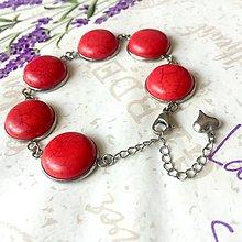 Náramky - Red Howlite & Stainless Steel Bracelet / Náramok s červeným howlitom (chirurgická oceľ) /0104 - 9806088_