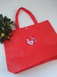 Nákupné tašky - Kohútik (nákupka ručne vyšívaná) - 9806398_