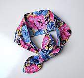Šatky - Šatka do vlasov (Ružové kvety) - 9808091_